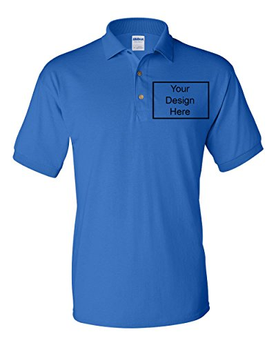 City Shirts Add Your Own Text Design Custom Personalized Polo Adult Collar Shirt (X Large, Royal - Custom Your Own