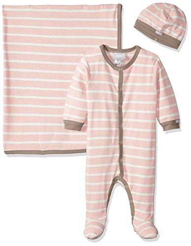 Pink Contrast Rib Knit Cotton Footie + Cap + Blanket, Heather Pink/Cream Stripes, 1 Months ()