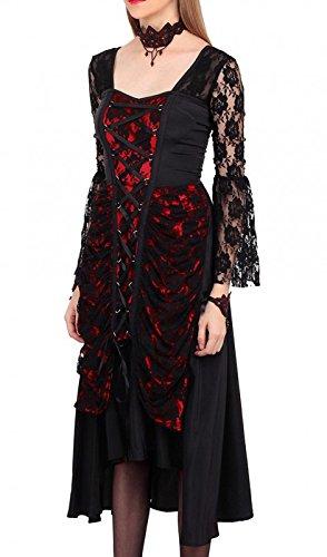 mit Kleid elegant Gothic schwarz und Schwarz Spitze und rot Schnürung Schwarz 0rrqTwt
