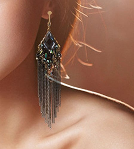 CNCbetter Women Fashion Charms Black Crystal Charms Long Dangle Tassel Screw Back Clip On Earring by CNCbetter (Image #2)