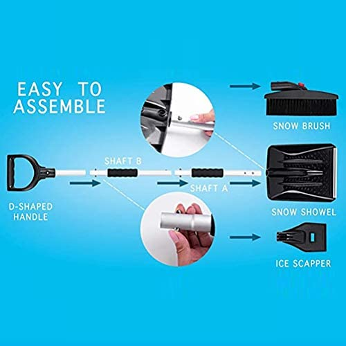 Snow Shovel Kit 3 in 1 Foldable Car Snow Shovel Set Portable Emergency Snow Remover Tools for Car Truck Camping Outdoor