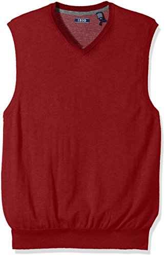 IZOD Men's Fine Gauge Solid Sweater Vest, Biking Red, Medium