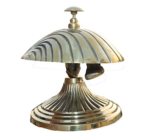 PARIJAT HANDICRAFT Handcrafted Solid Brass Hotel Counter Bell, Officer call bell Ornate Brass Shell Design Bell Desk Bell Service Bell for Hotels, Schools, Restaurants, Reception Areas. by PARIJAT HANDICRAFT