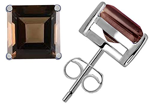 Sterling Silver Princess-Cut Brown Smoky Quartz Women's Stud Earrings 6x6mm 2.25 Carat TGW