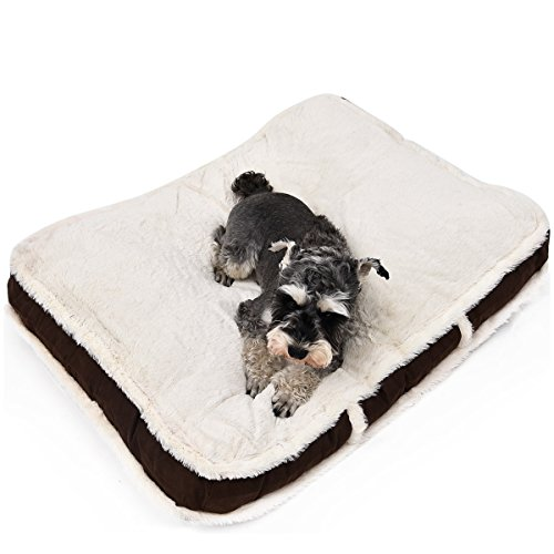 Kimol Fluffy Dog Cushion Cover Winter Blanket Removable Non-Slip Replacement Cover 906810CM-Covers Only (Dog Mattress Replacement Cover)