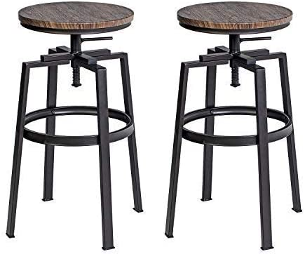 FurnitureR Set of 2 26.2-29.1 Inch Swivel Bar Stool Counter Height Walnut Barstools PVC Veneer