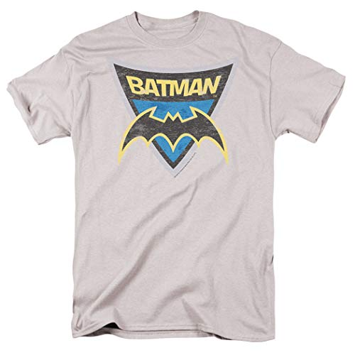 Batman: The Brave and The Bold Batman Shield T Shirt & Exclusive Stickers (X-Large) Silver