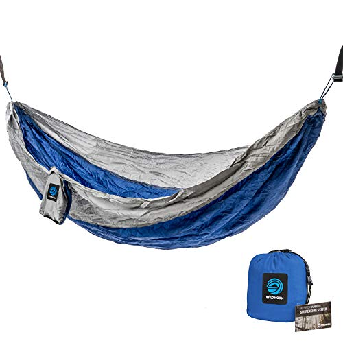WildHorn Outfitters Outpost Double/Single Camping Hammock with 11' Tree Straps - 100% Parachute Nylon - Cinch Buckle Design, No Knots Required - Easiest Hammock to Hang Double Folding Pad Eye