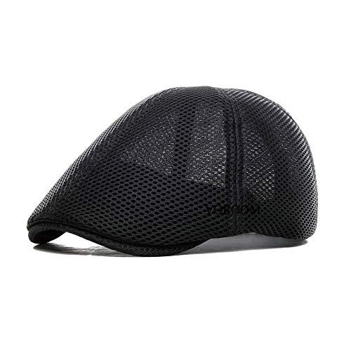 VOBOOM Men Breathable mesh Summer hat Newsboy Beret Ivy Cap Cabbie Flat Cap (Style2- Black)