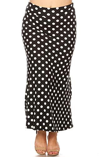 (Plus Size Casual Polka Dot Lightweight Elastic Maxi Skirt/Made in USA Polka Black 2XL )