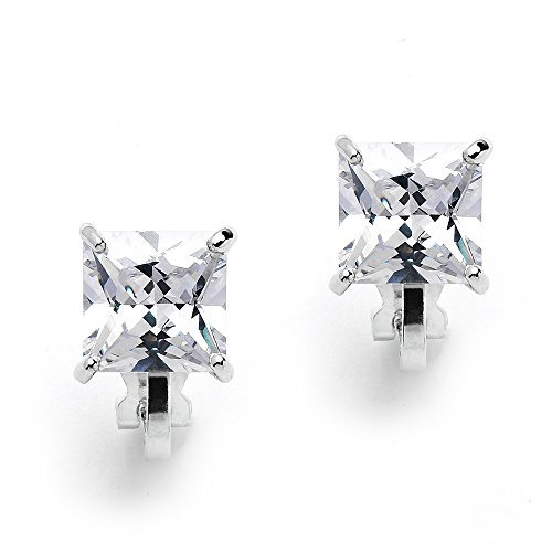 24bdb4be569a9 Mariell 2 Carat Princess-Cut Cubic Zirconia Clip On Earrings - Genuine  Platinum Plated Clip-on Studs