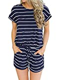 Artfish Women's Summer Striped Jumpsuit Casual Loose Short Sleeve Jumpsuit Rompers (M, 01Navy Striped)