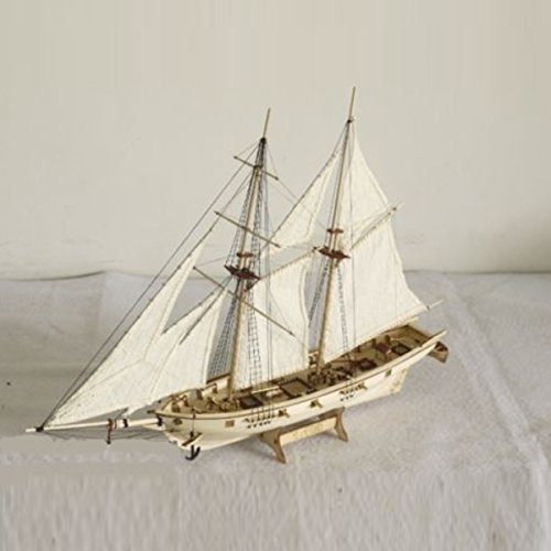 Aissimio Hobby Wooden Ship Models Boat Ships Kits Sail Boat Wooden Model Kit Toy White+Apricot (White Sailboat Model)