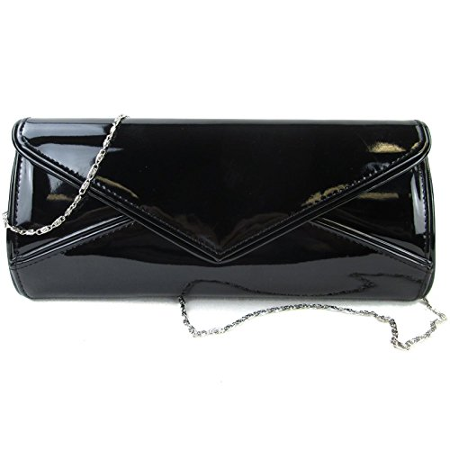 red party lady's navy Hotstylezone prom wedding patent New bag envelope black clutch Black evening 50vcBUxqw