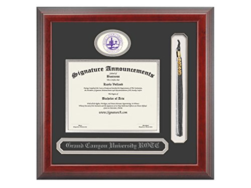 Signature Announcements Grand-Canyon-University-Rotc Undergraduate, Graduate/Professional/Doctor Sculpted Foil Seal, Name & Tassel Diploma Frame, 16