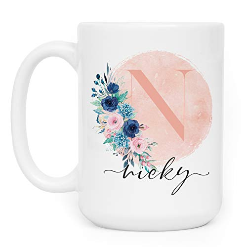 (Personalized Gifts Coffee Mug with Name and Initial - 11oz & 15oz Large Ceramic Cup with Matching Coaster - 9 Different Designs - Birthday Gifts, Mother's Day Gifts, Gift for Grandma - D9)