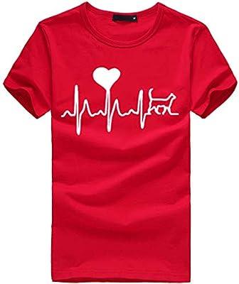 MINXINWY Camisetas Mujer Tallas Grandes, Salvaje Camiseta de Mujer Manga Corta Camiseta Simple de algodón Blusa Camisa Cuello Redondo Basica Verano Tops Impresión de Corazón de electrocardiograma: Amazon.es: Deportes y aire libre