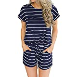 Artfish Women's Summer Striped Jumpsuit Casual Loose Short Sleeve Jumpsuit Rompers (XL, 01Navy Striped)