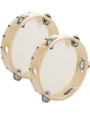 """Tosnail 8"""" Wood Handheld Tambourine - Single Row 5 Pairs Jingles"""