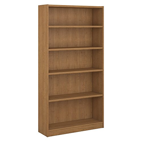 - Bush Furniture Universal 5 Shelf Bookcase in Snow Maple