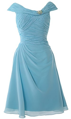 MACloth Cap Sleeves Boat Neck Cocktail Dress Short Mother of the Bride Dress Cielo azul