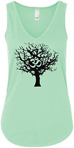 Yoga Clothing For You Ladies Black Tree of Life Flowy V-Neck Tank Top