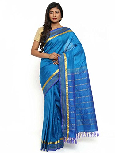 Khadi Gocoop Silk Handloom Handicrfats Solid Saree Pure Blue Export Indian TwxqRngfPT