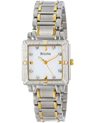 Bulova Womens 98R112 Diamond Accented Two-Tone Stainless Steel Bracelet Watch
