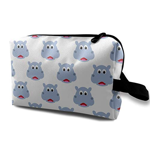 Cute Hippo Face B Toiletry Bag Hanging Toiletry Storage Kit with Hook and Handle - Travel Cosmetic Bag for Men & Women -