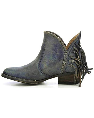 Short Boot G Round M Toe Women's Blue Fringe US 8 Circle SqOpx