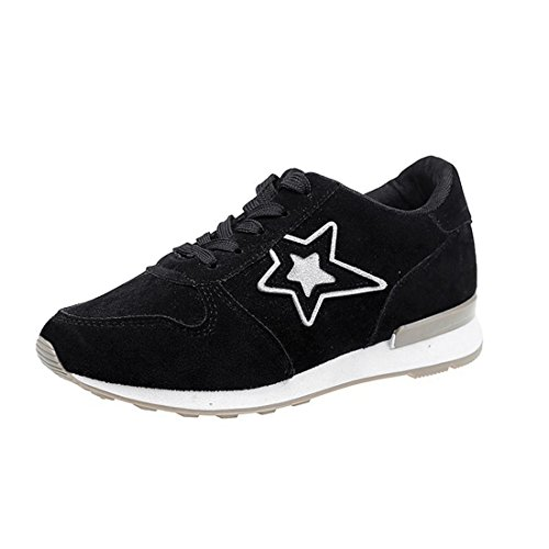 TOOGOO 1 Pairs Of Pink Sports Shoes Five-Pointed Star Student Skid Shoes Breathable Leisure Travel Shoes Hiking Shoes US4.5 = EU35 Feet 225mm Black 35 asvCM