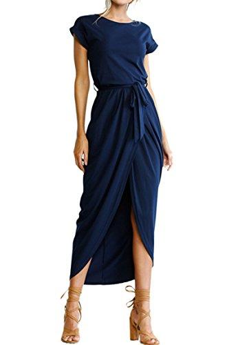YMING Women's Wrap Summer Dress Solid Color Slit Dress High Low Maxi Dress Navy Blue L ()