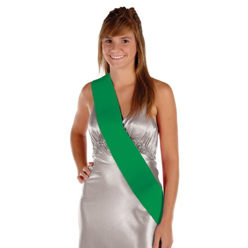 Satin Sash (green) Party Accessory  (1 count) (1/Pkg)