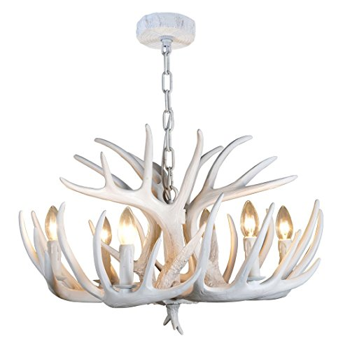 Antler Lighting (EFFORTINC Resin Antler chandelier white Antler chandelier Living Room Dining room Easy Installation (6 Lights))