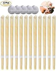 Velas para oídos, conos para velas de cera de abejas - Removedor de cera para oídos - Fragancia natural orgánica Velas de cono hueco con discos de protección para el bloqueo de oídos 12 piezas,blanco