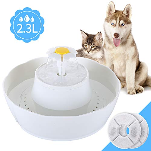 Pet Fountain Cat Water Fountain, iYoY 2.3L Cat Water Dispenser Quiet Cat Drinking Fountain Filtered Water for Pet Automatic Lotus Cat Fountain Dog Fountain Electric Water Bowl for Dog & Cat