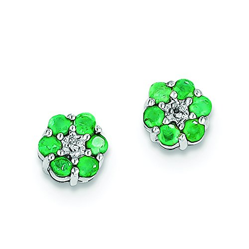 Genuine Emerald Flower (.925 Sterling Silver Genuine Diamond And Emerald Flower Post Stud Earrings (0.01 CTTW, I-J Color, I2 Clarity))
