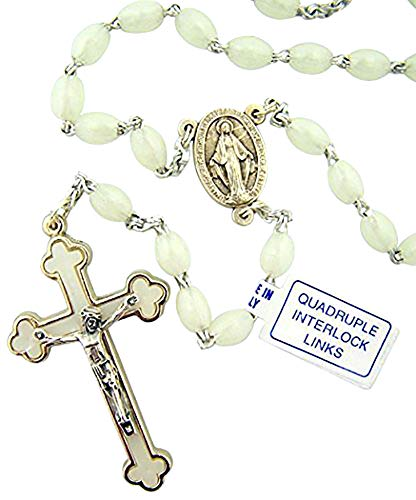 Moulded Glow in The Dark Prayer Bead Rosary with Quadruple Interlock Link, 16 ()