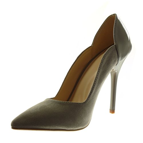 Angkorly - damen Schuhe Pumpe - Stiletto - Patent Stiletto high heel 11 CM Grau