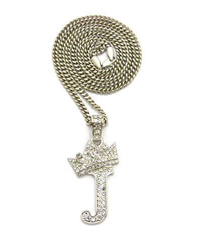 """Iced Out King Crown Alphabet J Pendant 24"""" Various Chain Necklace in Gold, Silver Tone (Silver / 3mm 24"""" Cuban Chain)"""