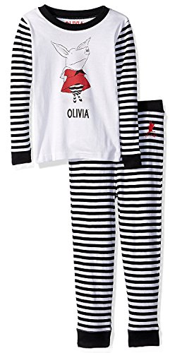 Olivia The Pig Little Girls' Olivia The Pig 'Red Dress and Striped Tights' Cotton Pajama Ses, Black/Multi, 5T