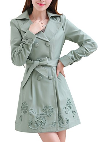 Spring Breasted Coat Jacket Yasong Trench Double Green Girls' Belted Women's Slim Fitted 6ScSqwC0Yg