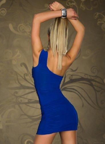 Sexy Tr?gerlos Ohne armTailliertes Minikleid mit feinem Stretch-Stoff Abendkleid Cocktailkleid in verschiedenen Farben, Blau, one size