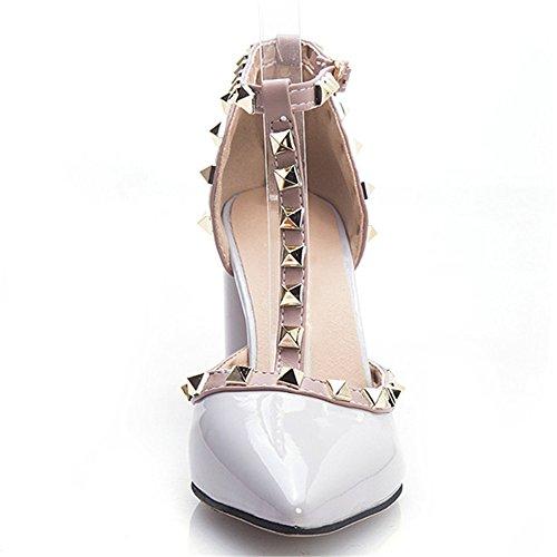 Nine Seven Cuero Moda Puntiagudos Zapatos de Tacón Grueso con Correa en T para Mujer gris