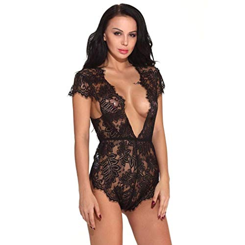 Zlolia Clearance Women Sexy Lingerie Lace Teddy Features Plunging Eyelash and Snaps Crotch Nightwear -