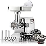STX International ''Platinum Edition'' Turboforce 3 Speed Heavy Duty 1200 Watt Electric Meat Grinder. Includes, 4 Grinding Plates, 3 Stainless Cutting Blades, Sausage Stuffer, Kubbe, 3 Lb.High Capacity Meat Tray, 2 Meat Claws, Burger Press & Foot Pedal