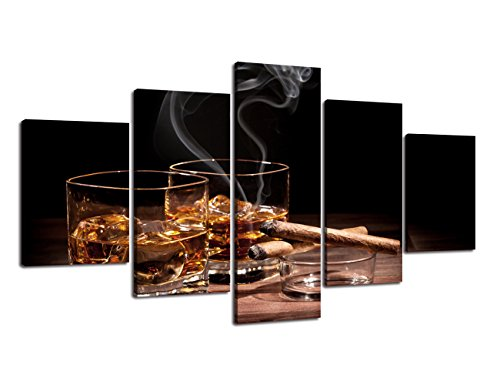 Wine Painting 5 piece canvas Multi panel art,Modern Glass of Whisky Cigarette HD Prints Pictures Giclee Artwork Wall Art for Living Room Home Decor Wooden Framed Stretched Ready to Hang(60''Wx32''H) ()