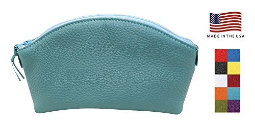 (Teal Colorado Collection Genuine Leather Cosmetic Bag - Made in USA by Real Leather Creations - Gift Box - Makeup Bag FBA659)