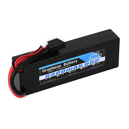 YOWOO 2S Graphene Battery 6500mAh 65C 7.4V RC Lipo Battery Hardcase with Traxxas Connector for 1/10 Scale Traxxas Stampede VXL 4x4 Traxxas Rustler Vxl E-Revo Brushless E-Maxx Brushless Ford Mustang GT