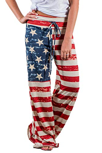 American Lounge Pants - WFTBDREAM Palazzo Lounge Pants for Women Drawstring High Waisted Flared Leg American Flag S